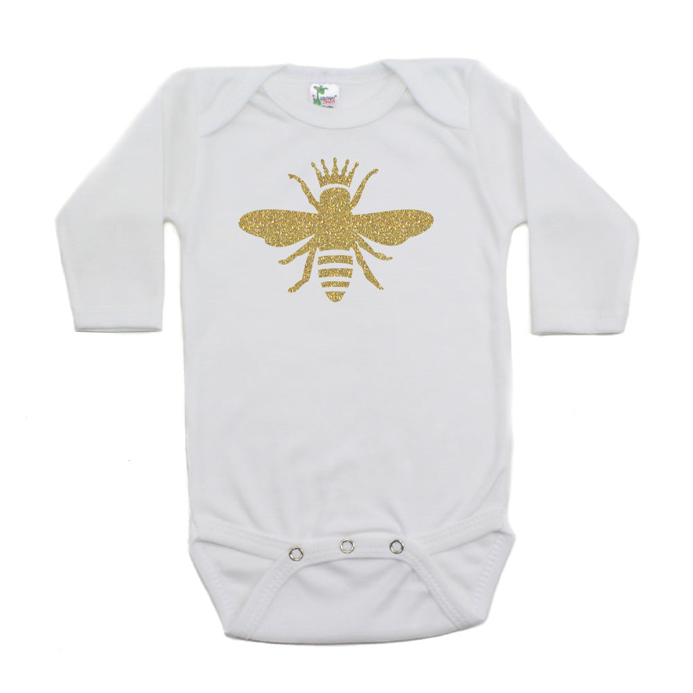 Gold Glitter Queen Bee with Crown Long Sleeve Baby Infant Bodysuit