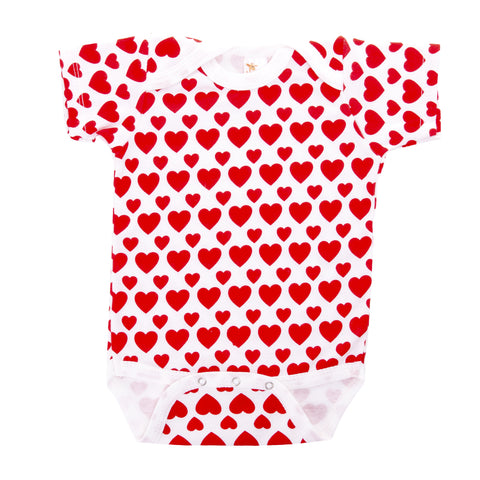 Red Hearts Pattern Short Sleeve Bodysuit