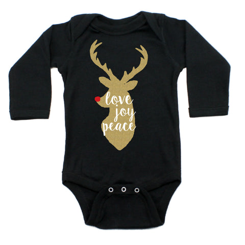 Christmas Love Joy Peace Glitter Reindeer Long Sleeve Infant Bodysuit