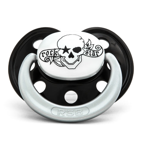 "Pacifier - Rock Star ""Glow in the Dark"" Pirate Skull, Black"