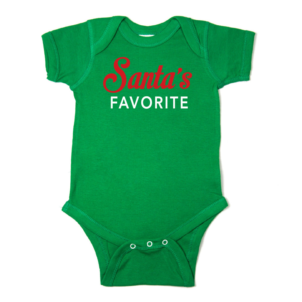Christmas Red & White Santa's Favorite Short Sleeve Infant Bodysuit