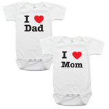 I Love Mom and Dad Baby 2 Piece Short Sleeve Gift Set