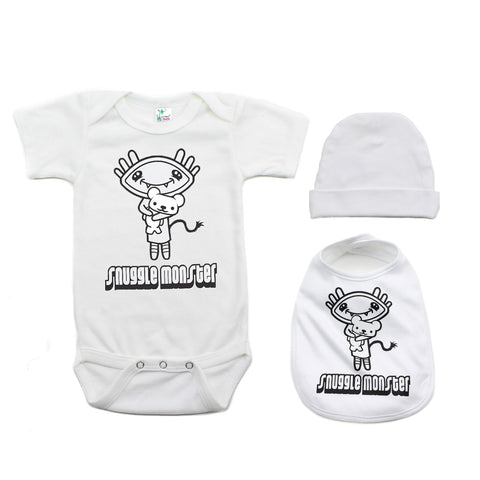 Snuggle Monster Unisex-Baby 3 Piece Short Sleeve Gift Set