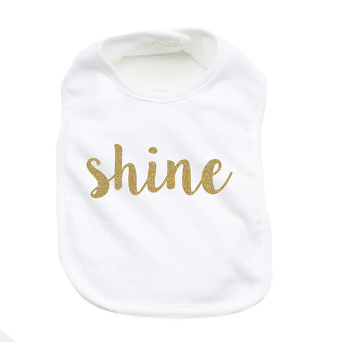 Christmas Shine with Gold Glitter Soft Cotton Infant Bib