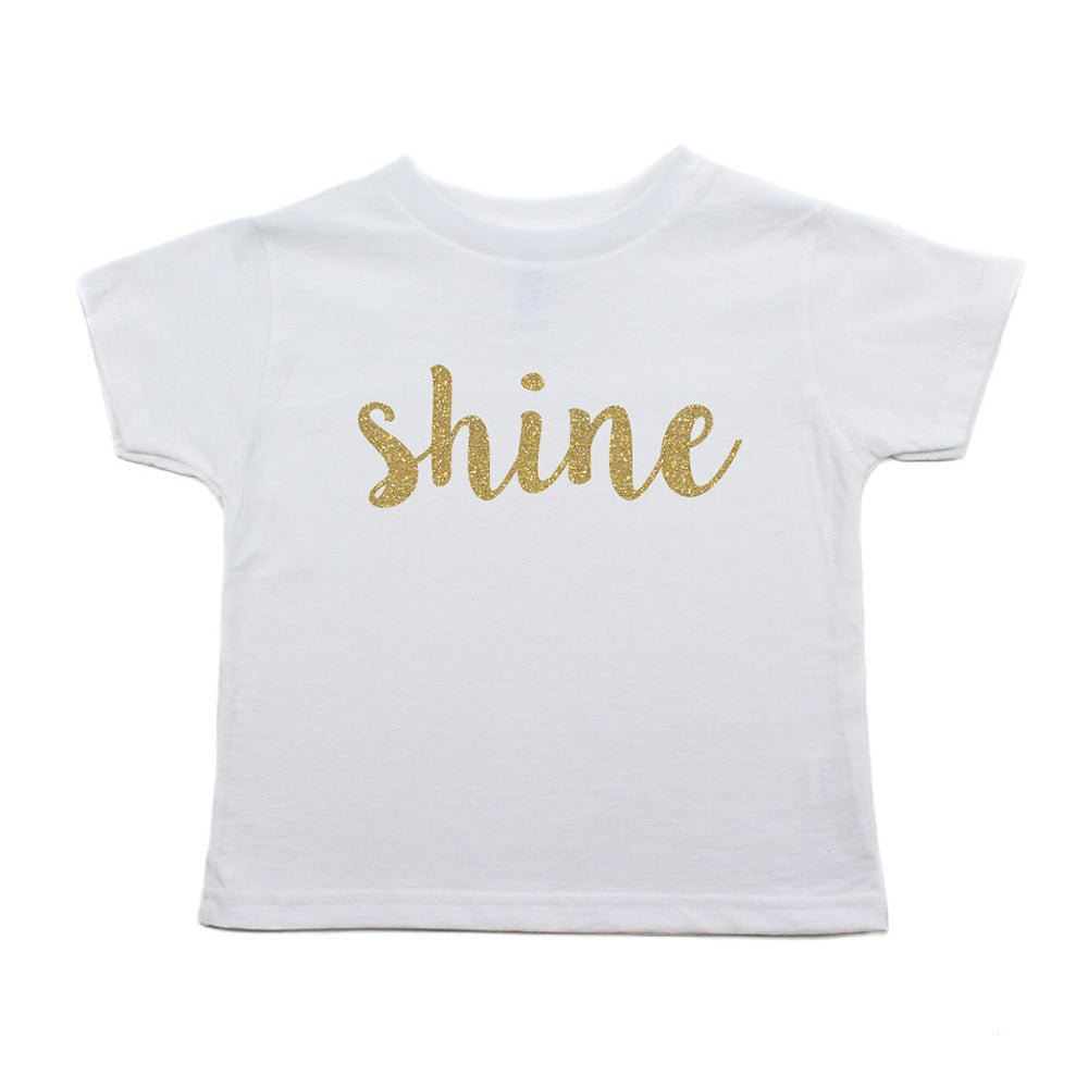 Christmas Shine with Gold Glitter Toddler Short Sleeve T-Shirts