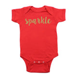 Christmas Sparkle with Gold Glitter Short Sleeve Infant Bodysuit
