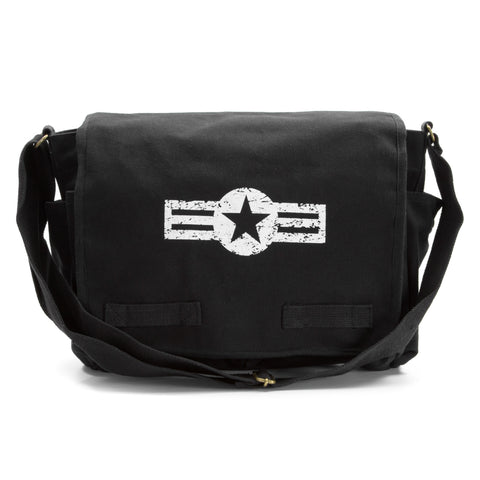 Black Heavyweight Canvas Classic Messenger Satchel Bag - Air Corp Logo