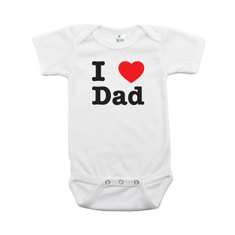 Father's Day I Heart Love Dad Short Sleeve Baby Infant Bodysuit