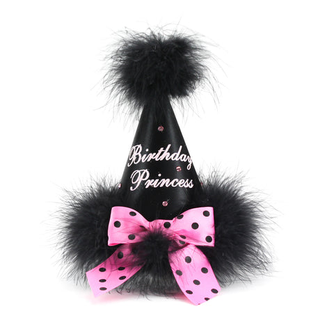Black with Pink Polka Dot Bow Birthday Princess Party Hat