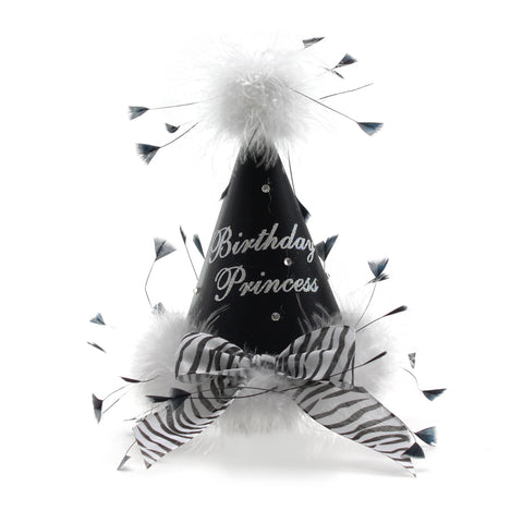 Black with Zebra Stripe Bow Birthday Princess Party Hat
