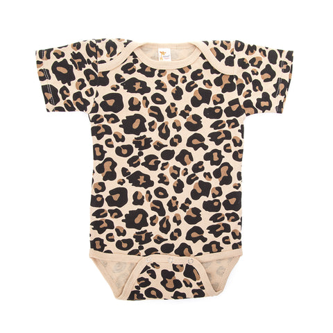 Tan Leopard Pattern Short Sleeve Bodysuit