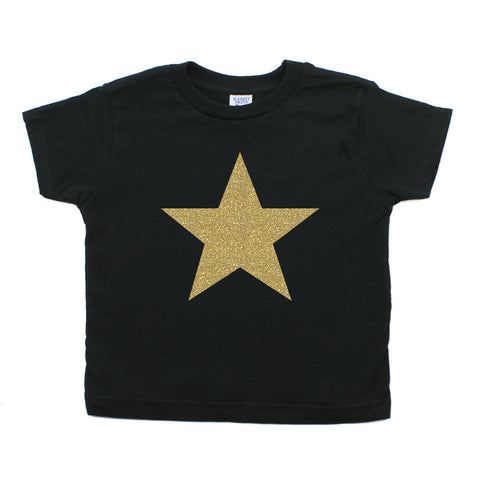Christmas Big Gold Glitter Star Toddler Short Sleeve T-Shirts