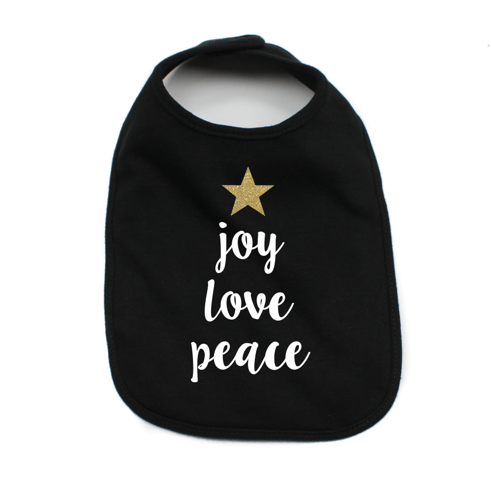 Christmas Joy Love Peace Tree Glitter Star Soft Cotton Infant Bib