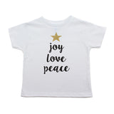 Christmas Joy Love Peace Tree Glitter Star Toddler Short Sleeve T-Shirts