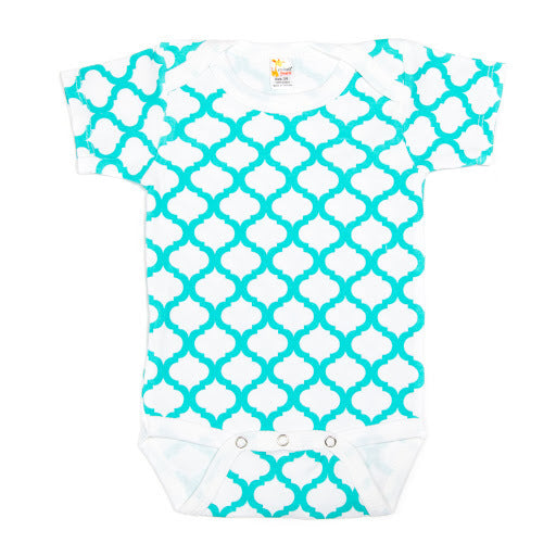 Trellis Pattern Short Sleeve Bodysuit