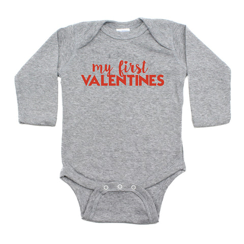Valentine's Day My First Valentines Long Sleeve Infant Bodysuit