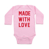 Valentine's Day Made With Love Long Sleeve Infant Bodysuit