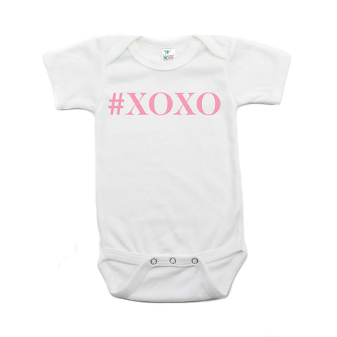 Valentine's Day #XOXO Hugs and Kisses Short Sleeve Infant Bodysuit