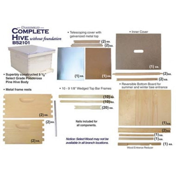 Complete 10 Frame Deep Hive without foundation - unassembled