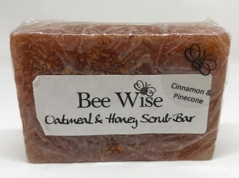 Cinnamon and Pinecone Scrub Soap Bar_BeeWiseLLC.com