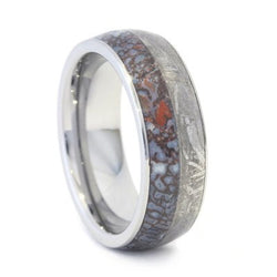 dinosaur bone wedding band paired with meteorite tungsten ring - Dinosaur Bone Wedding Ring