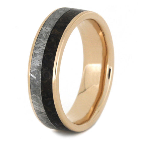 dinosaur bone wedding band with meteorite in 14k gold - Dinosaur Bone Wedding Ring