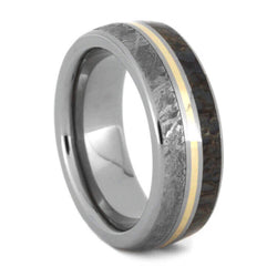 dinosaur bone ring meteorite wedding band with 14k gold center - Meteorite Wedding Ring