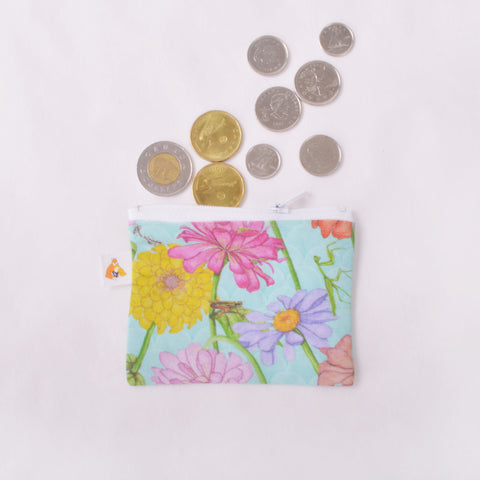 Coin Purse - Zinnia and Garden Insect