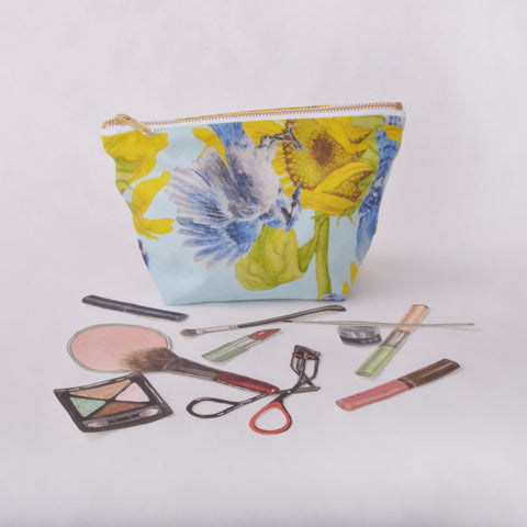 Make Up Bag - Blue Jay and Sunflower