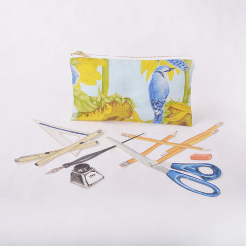 Pencil Case - Blue Jay and Sunflower