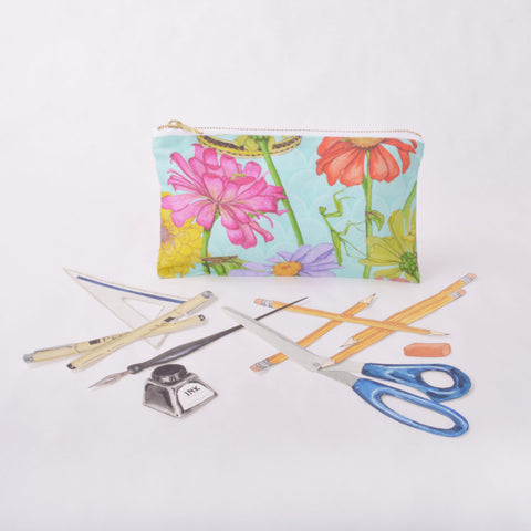 Pencil Case - Zinnia and Garden Insect