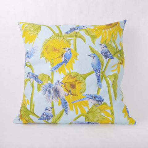 Throw Pillow - Blue Jay and Sunflower