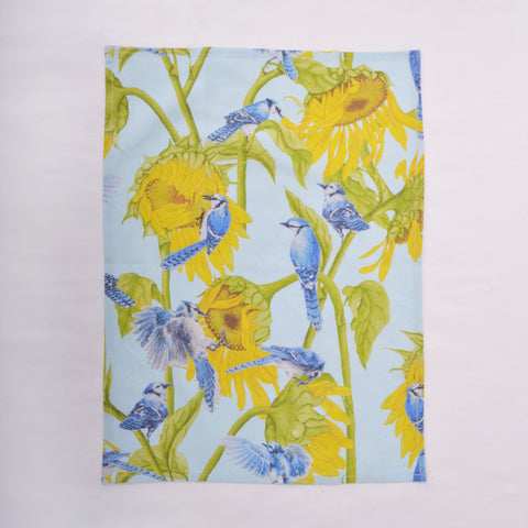 Tea Towel - Blue Jay and Sunflower