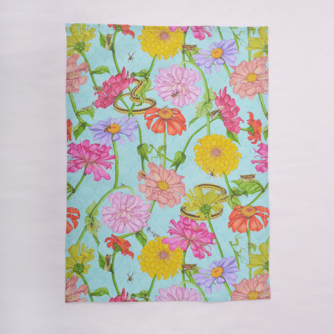 Tea Towel - Zinnia and Garden Insect