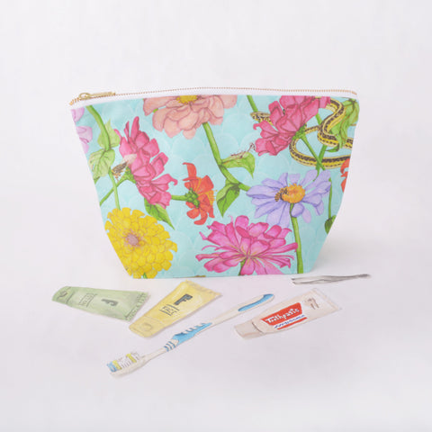 Toiletry Pouch - Zinnia and Garden Insect