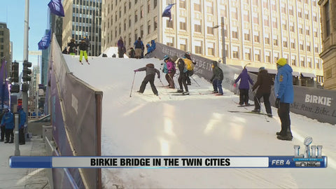 Birkie International Bridge stationed downtown Minneapolis, MN for Superbowl 52
