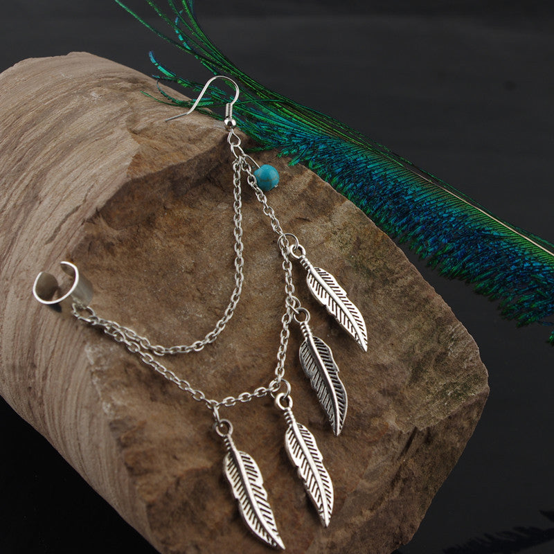 Native Silver Feather Turquoise Bead Cuff Earrings