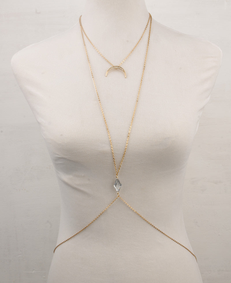 Cresent Moon Crystal Bead Body Chain Necklace