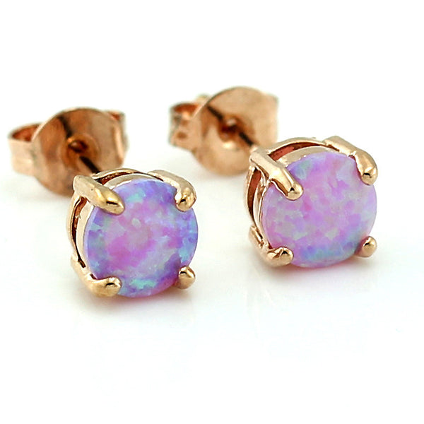 Fire Opal Gold Plated Stud Earrings (Pink)