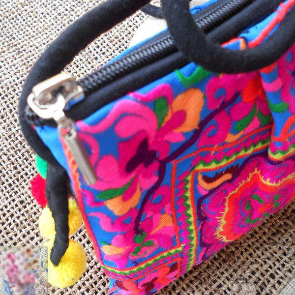 Colorful Flower Embroidered Pom Pom Bag