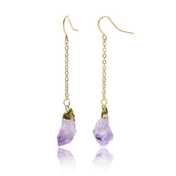 Natural Amethyst//Citrine Stone Drop Gold Plated Earrings