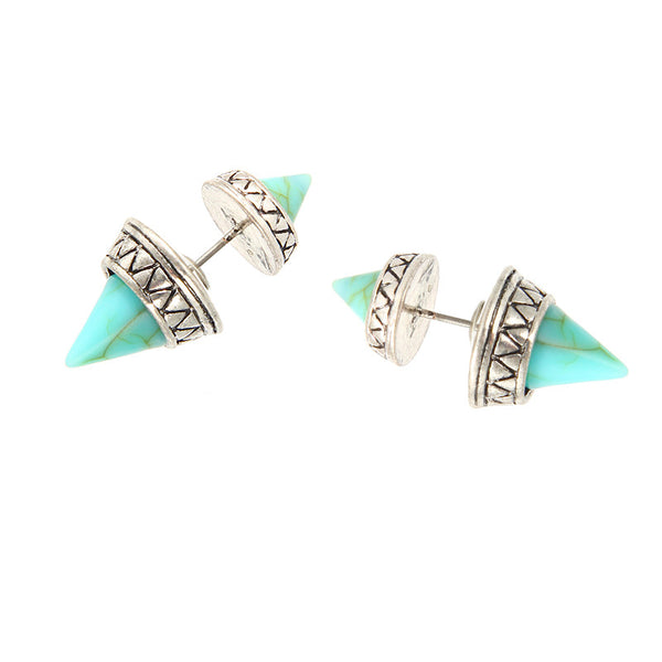 Spiked Green Marble Double Sided Stone Stud Earrings