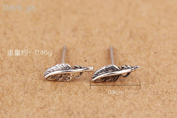 Petite Feather 925 Sterling Silver Stud Earrings