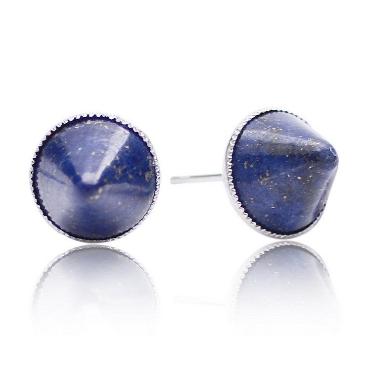 Spike Rivet Silver Plated Natural Stone Stud Earrings