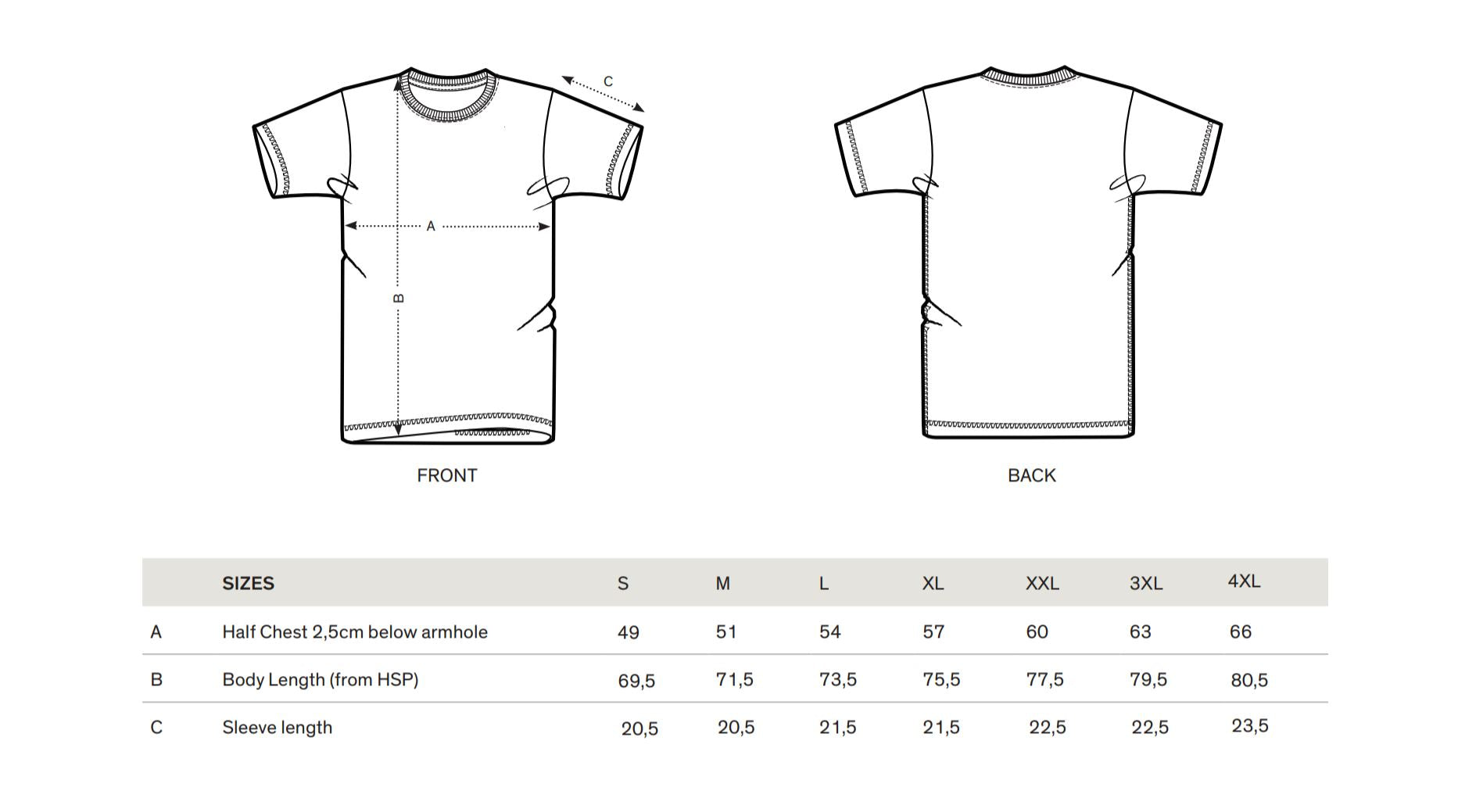 MARBLE t-shirt sizing guide