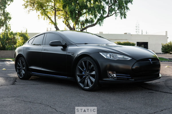 Tesla Model S Color Change Vinyl Wrap Satin Black with Gloss Blue Accents