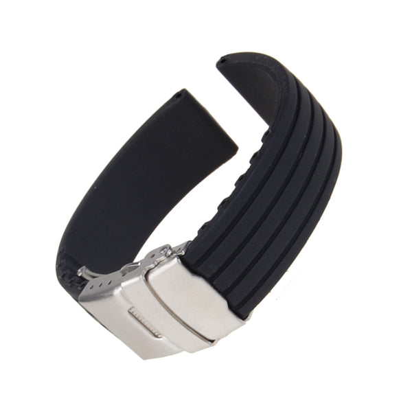 MagiDeal Black Silicone Rubber Watch Strap Band Deployment Buckle Waterproof 18mm - MagiDeal