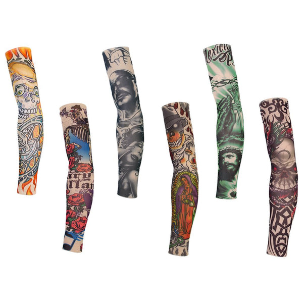 6pcs Temporary Realistic Fake Slip On Tattoo Arm Covers Sleeves Kit Fancy Dress Party