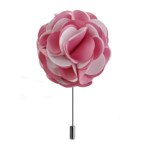 Handmade Fabric Lapel Flower Men Brooch Boutonniere Tuxedo Pin Pink + White