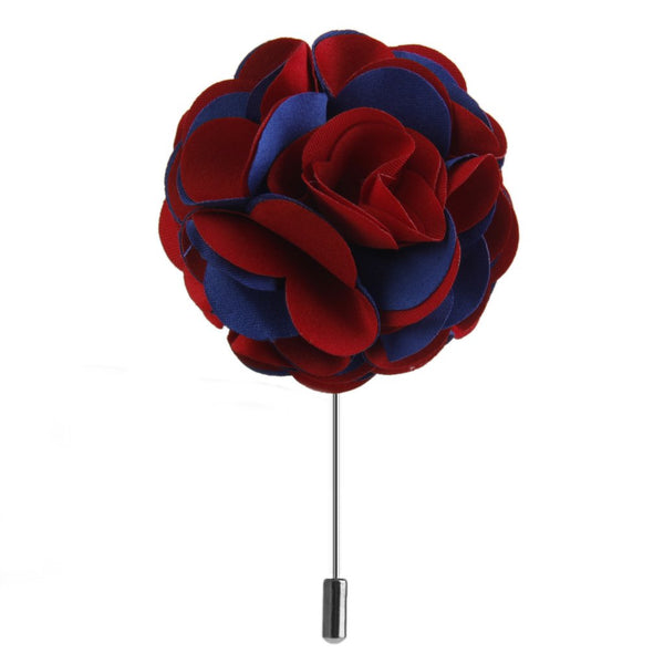 Handmade Fabric Lapel Flower Men Brooch Boutonniere Tuxedo Pin Blue + Red